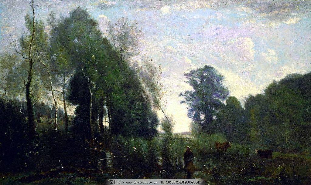 油画风景 树木 蓝天 白云 国外绘画