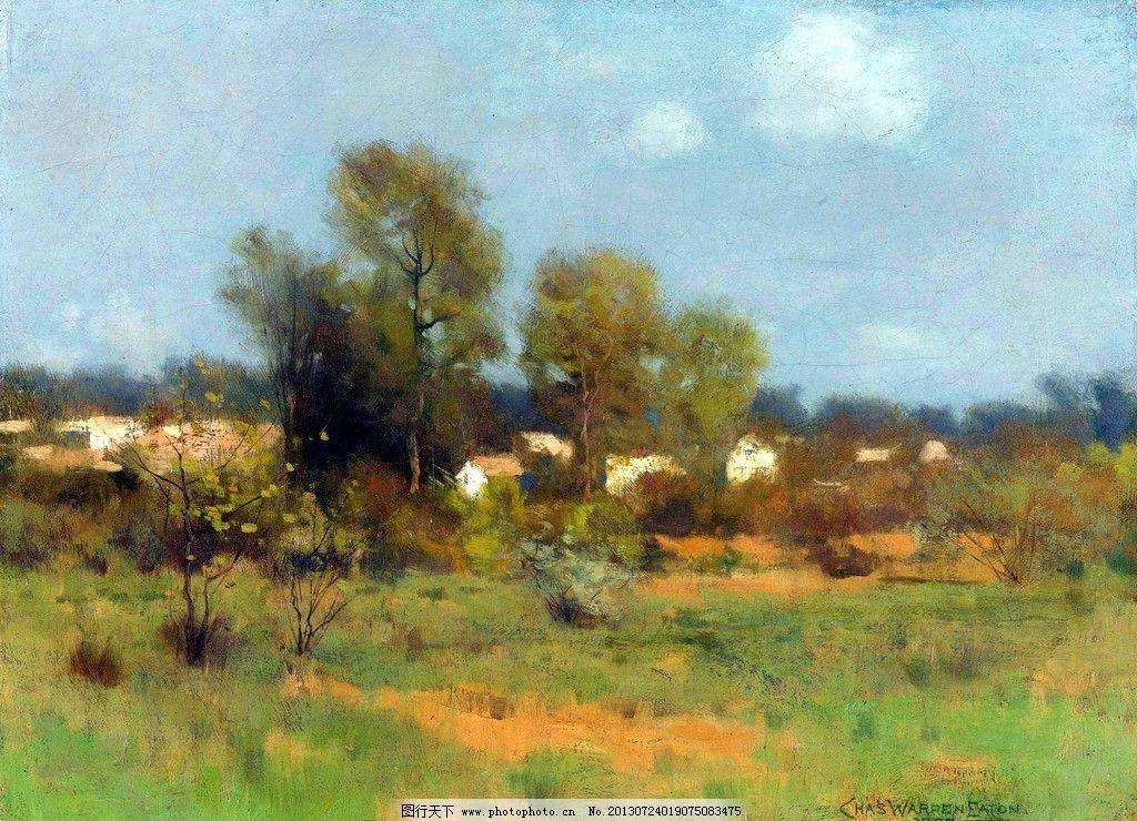 油画风景 树 草地 蓝天 白云 国外绘画 绘画书法 文化艺术
