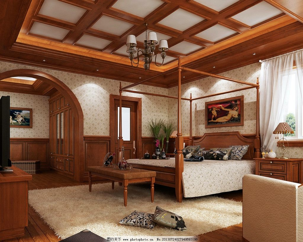 卧室效果图 卧室设计 室内装修装饰 实木 天花板 灯床 地毯