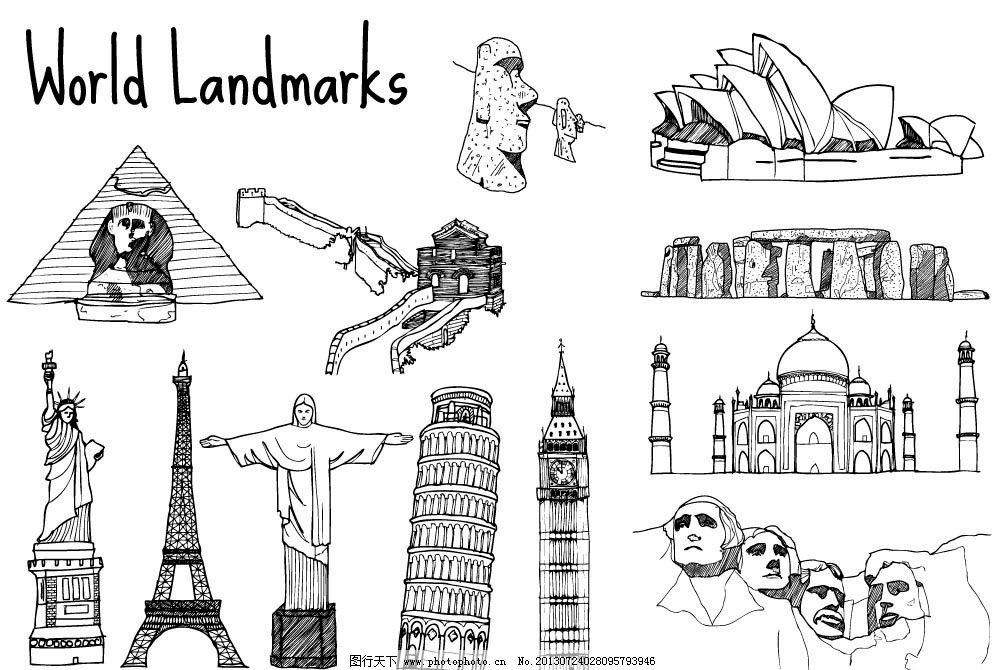 手绘素描城市名胜古迹图片