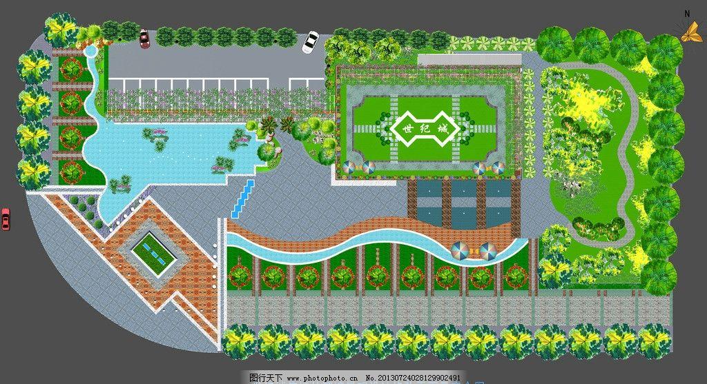 世纪城售楼部全景平面 全景鸟瞰图 景观 园林 园林设计