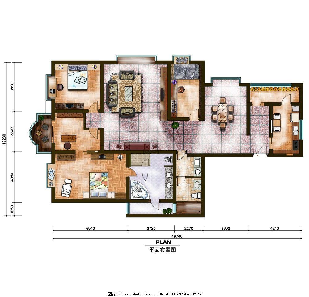 室内装横 平面设计图纸 家居设计 房间设计 房地产广告 广告设计模板