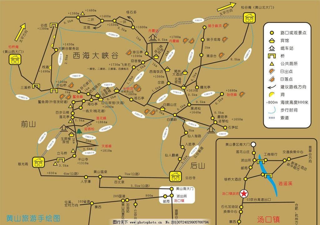 黄山旅游手绘图图片