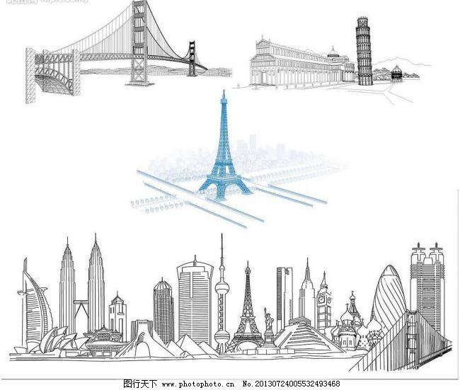 线描著名建筑物图片图片