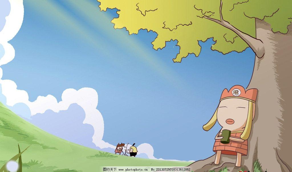 动漫人物壁纸 壁纸 我是白骨精 动漫 动画 素材 唐僧 树木 蓝天 白云