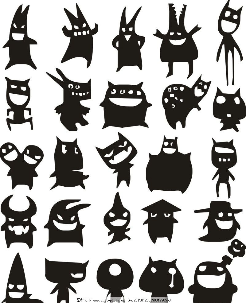 小怪物 小怪兽 哗笑 坏笑 萌物 卡通 动漫 矢量 素材 黑白 美术绘画