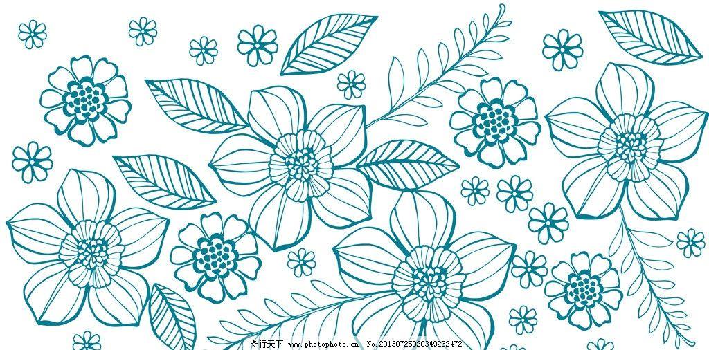 手绘线条花 手绘 线条花