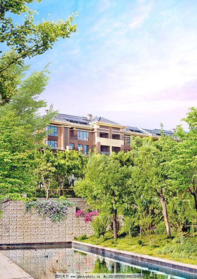 欧式洋房园林水景景观图片图片