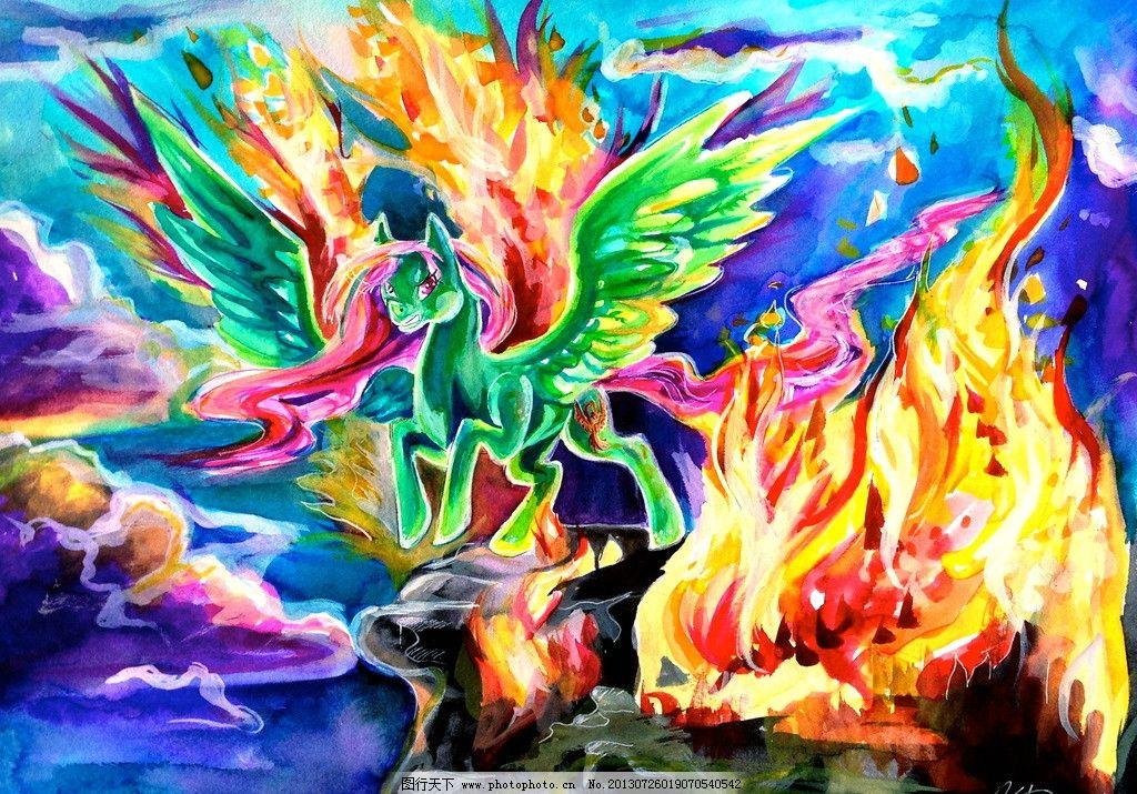 抽象水彩油墨画 狐狸 水墨画 动物 装饰画 壁画 版画 挂画 有框画