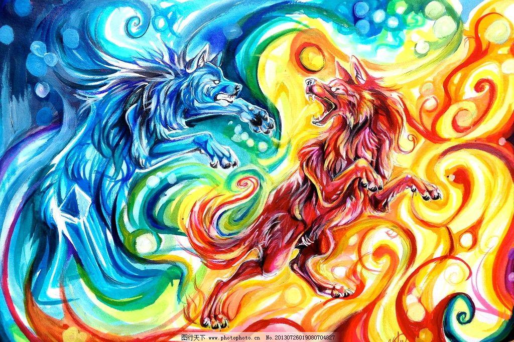 两只狐狸 狐狸 水墨画 动物 装饰画 壁画 版画 挂画 有框画 绘画书法