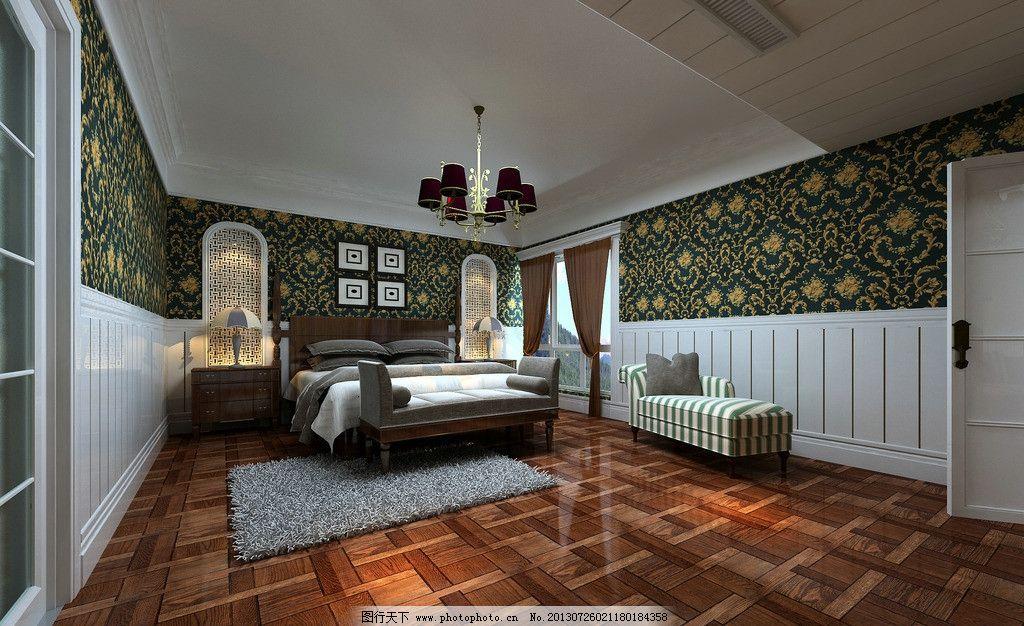 室内设计效果图 房间 装修装饰效果 3d      床 吊灯 3d设计 设计 72