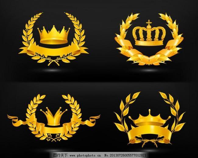 金色皇冠麦穗纹章矢量素材