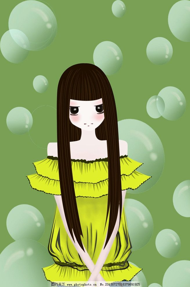 女孩 泡泡 简单 气泡 人物 长发 动漫 小女孩 动漫动画