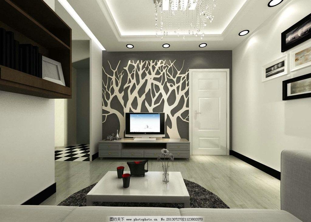 客厅效果图 简装 小户型 家装 黑白灰风格 艺术风格 电视机 挂画 吊灯