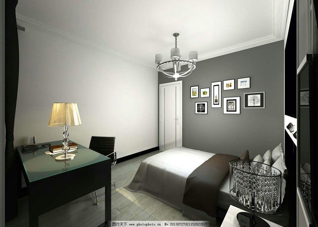 卧室效果图 简装 小户型 家装 黑白灰风格 艺术风格 床 吊灯 书桌
