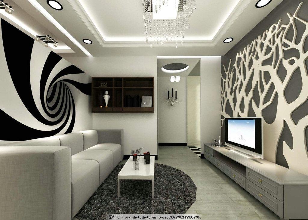 客厅效果图 简装 小户型 家装 黑白灰风格 艺术风格 沙发 电视机 地毯