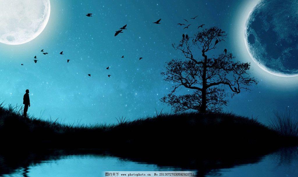 夜晚剪影背景图片