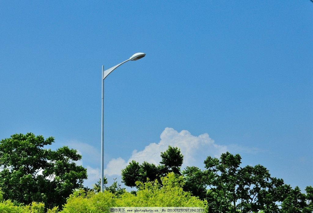 路灯 蓝天 白云 绿树 大树 其他 建筑园林 摄影 240dpi jpg