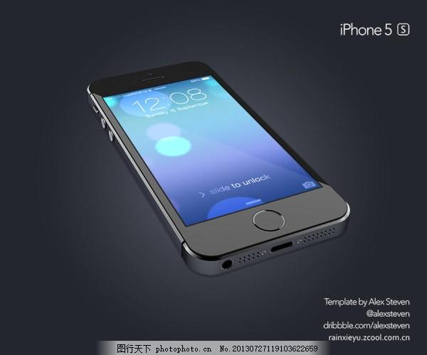 黑色iphone 苹果 手机 透视模型
