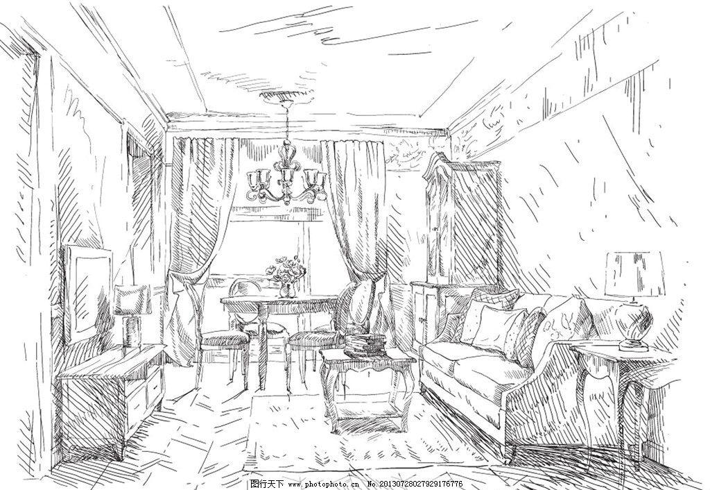素描客厅室内设计 手绘室内 素描      沙发 茶几 插画 手绘 室内