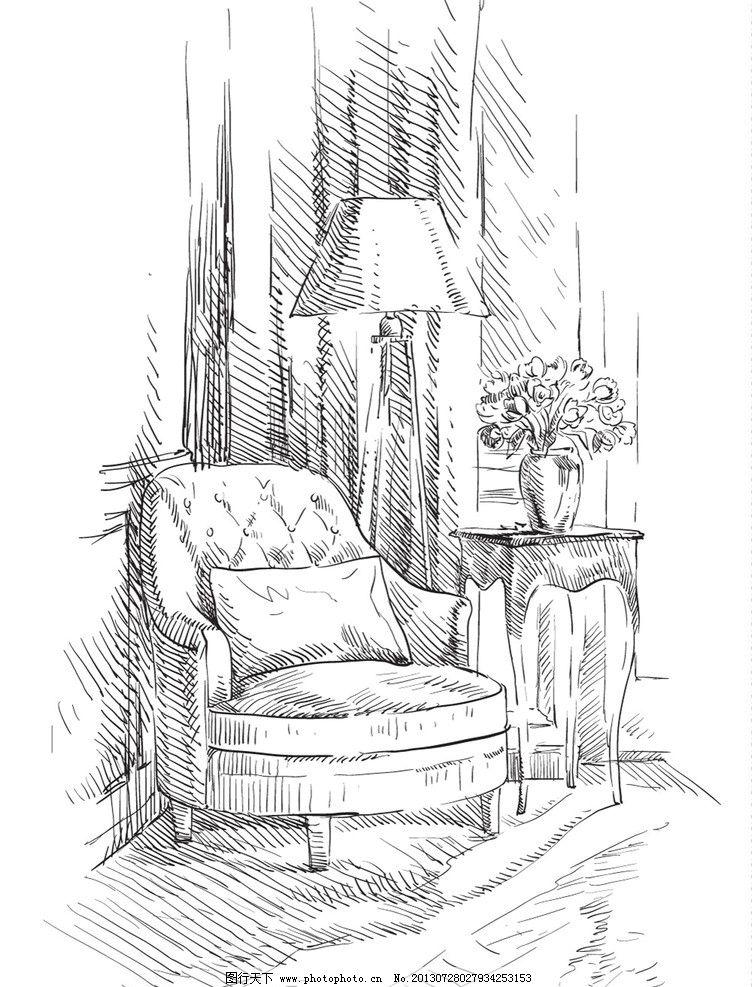 手绘室内设计 素描客厅室内设计 素描      沙发 插画 手绘 室内 欧式