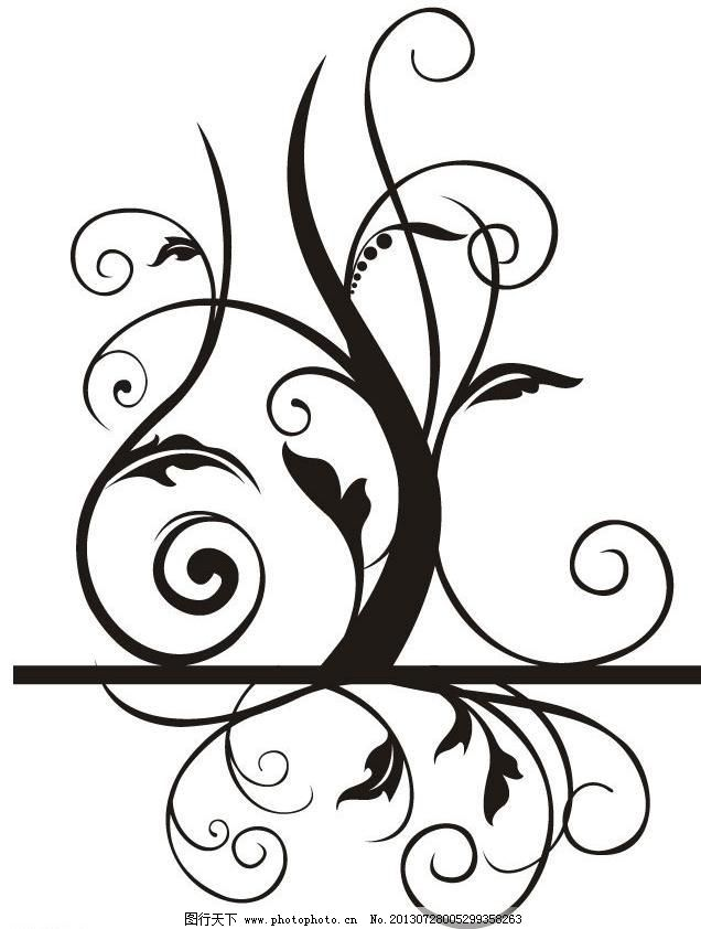 华丽花纹 时尚 古典 欧式 潮流 无缝底纹 花纹剪影 花藤 藤蔓 树枝