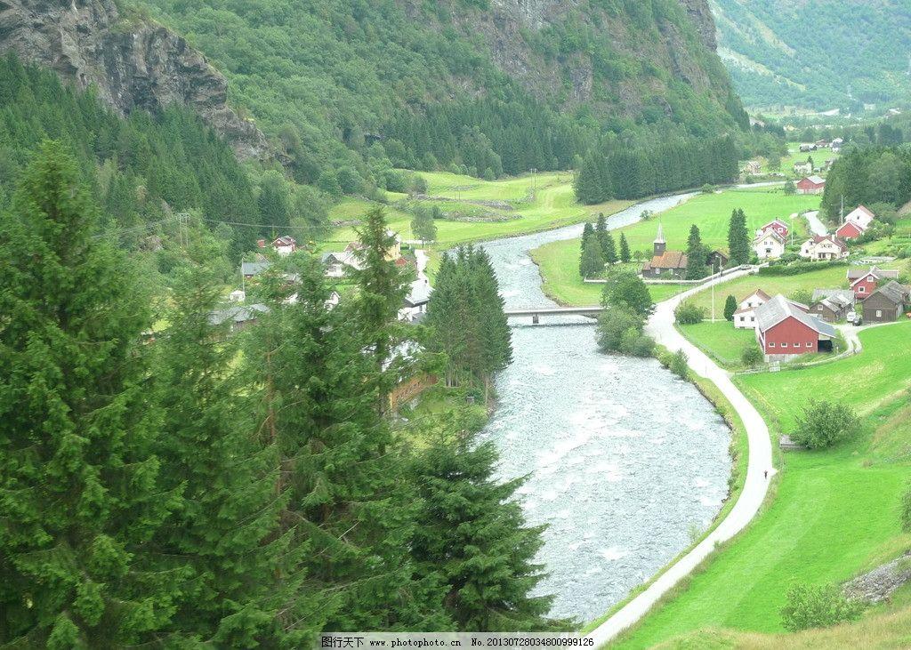 自然风光 河流 山脉 房屋 绿草 风景 自然风景 自然景观 摄影