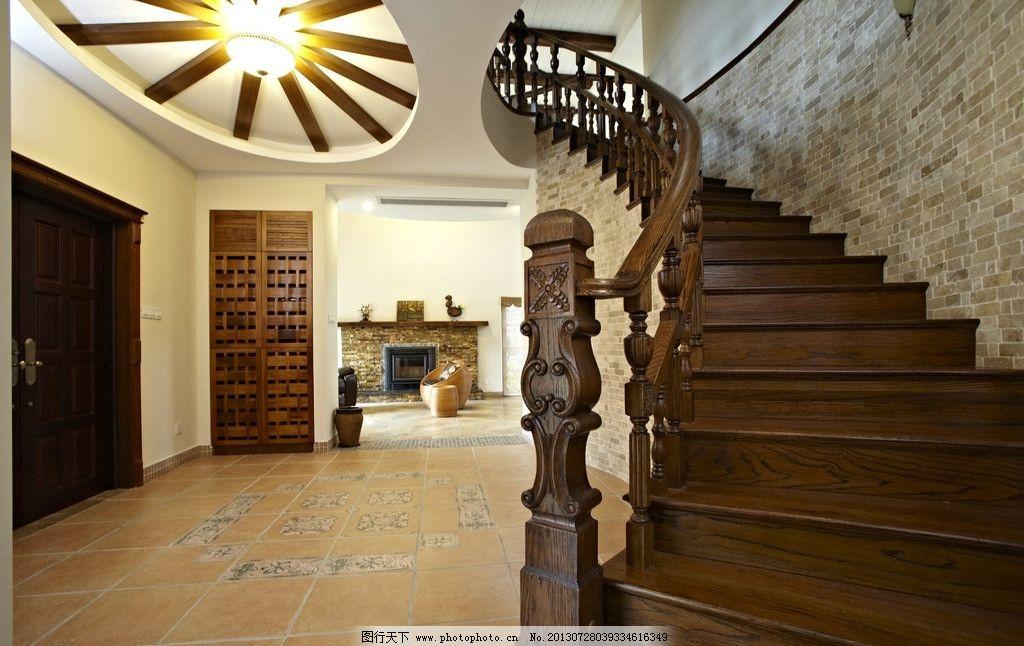 实木楼梯 楼梯 铁艺 室内摄影 前厅 灯      壁橱 建筑园林 摄影 300