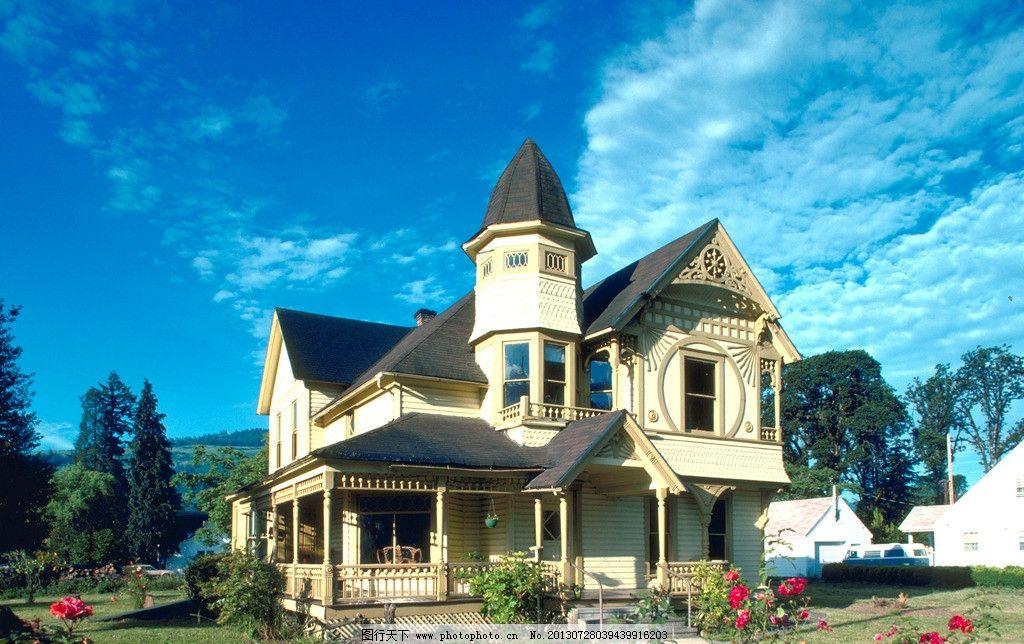建筑 别墅 花园建筑 图片素材 建筑素材 蓝天白云 欧式建筑 建筑摄影图片