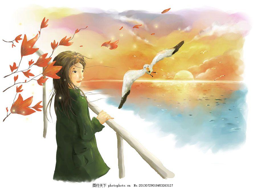 海边的女生 手绘 秋天 枫叶 海鸥 白色