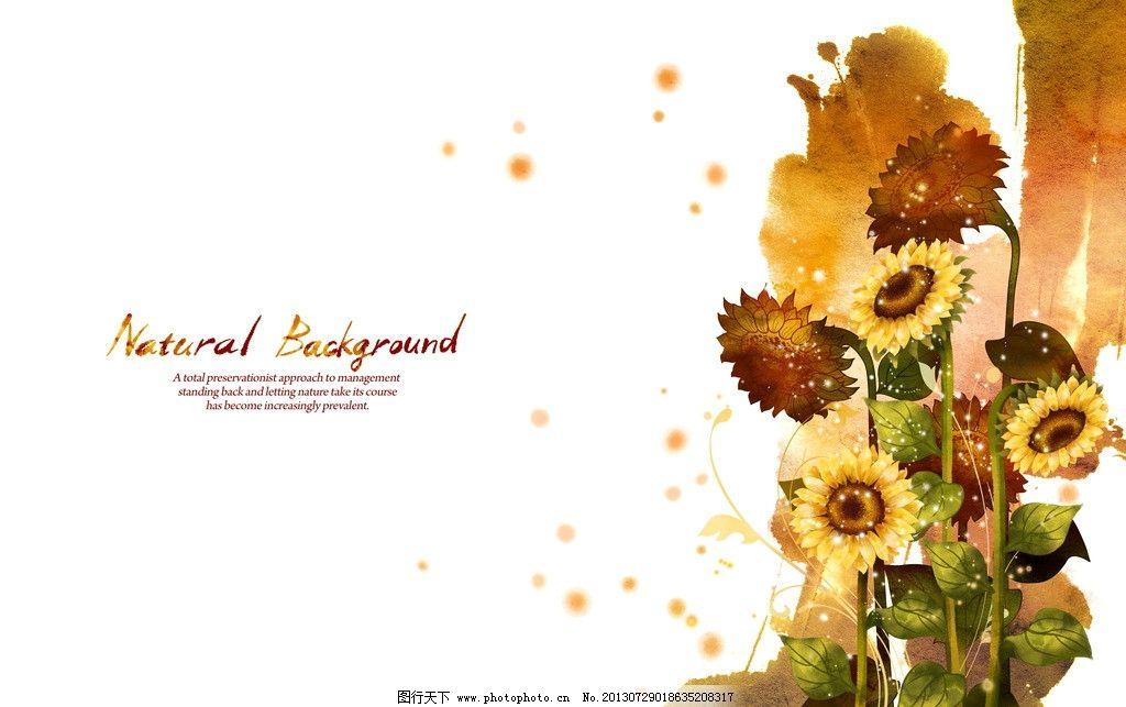 手绘向日葵 手绘边框 花朵 手绘插画 花纹 韩国图片 花纹素材 手绘