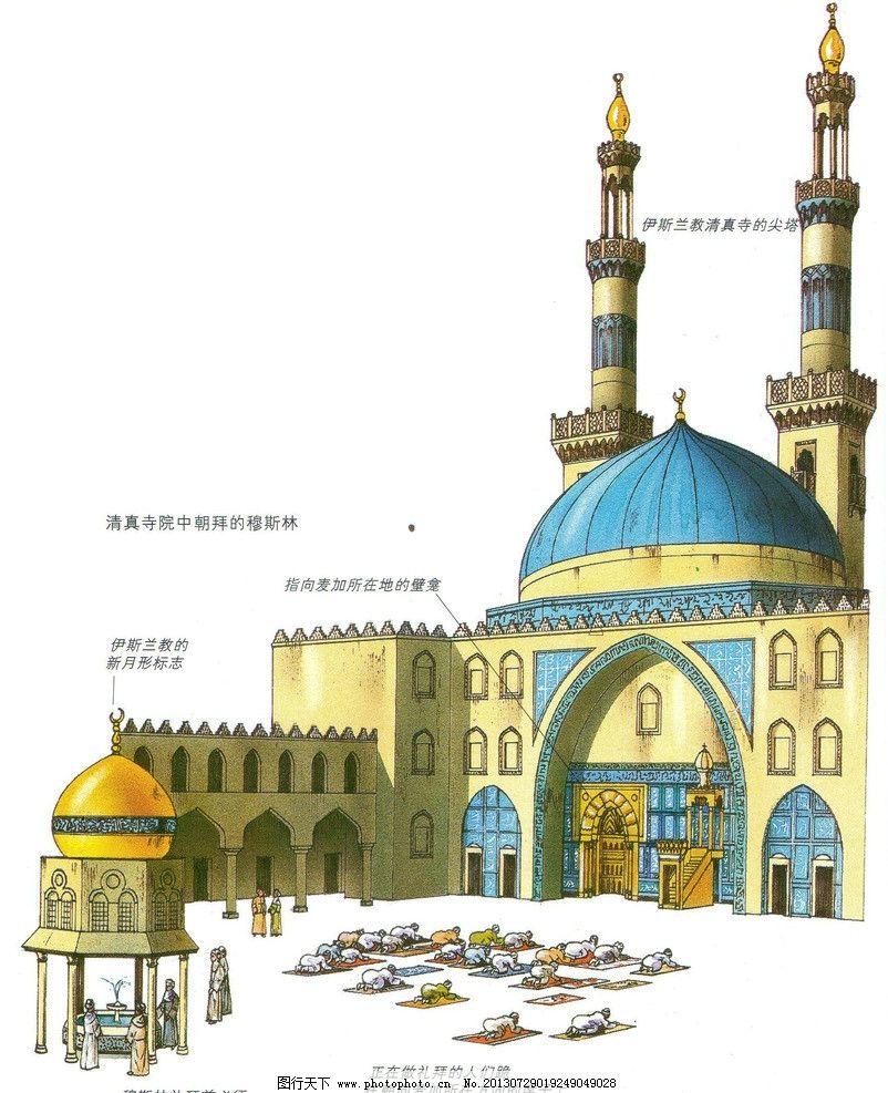 清真寺内院 清真寺 伊斯兰教 穆斯林 礼拜 朝拜 宗教信仰 文化艺术