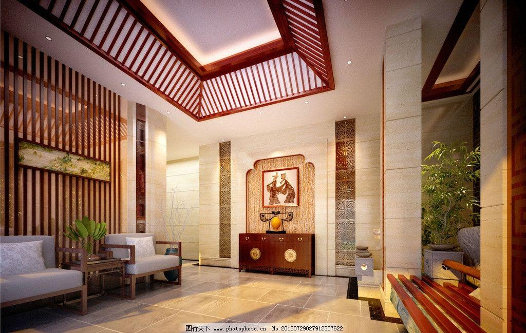 中式大厅 新中式电梯大堂 效果 中国风 新中式设计素材 古典风格 模板图片