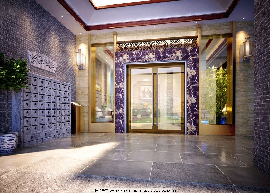 中式大厅 新中式电梯大堂图片