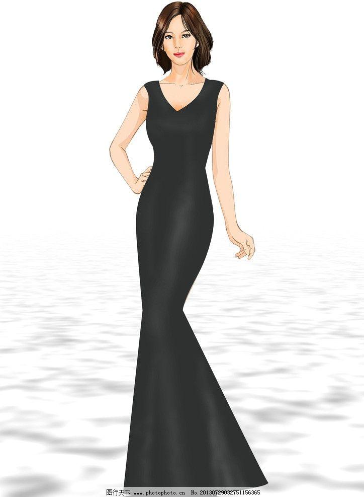 黑礼服 礼服 长裙 模特 美女模特 水纹 水面倒影 服装 人物 psd分层