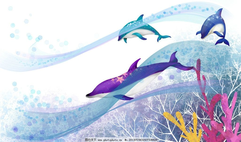 唯美海豚背景素材图片