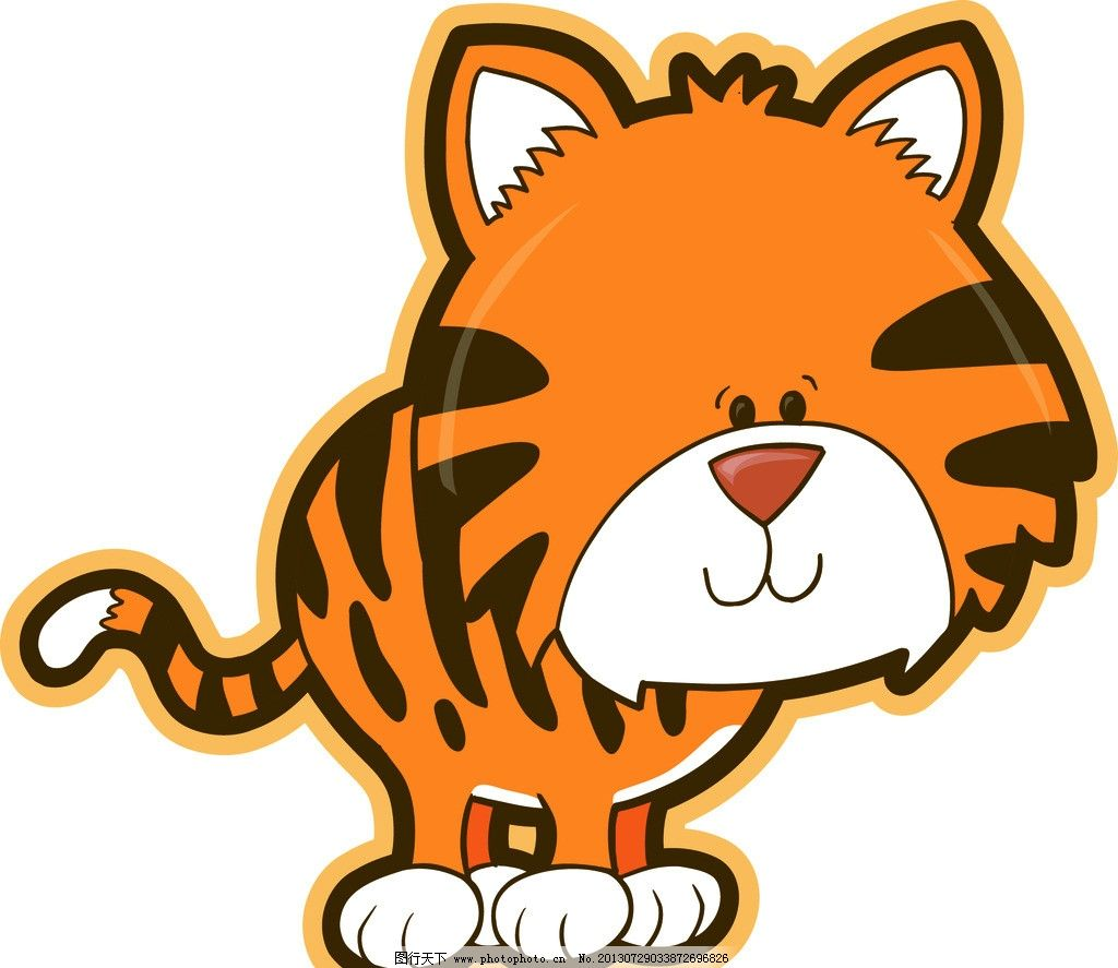 老虎 卡通动物 卡通老虎 可爱 虎皮 生肖 eps 矢量文件 图案 背景