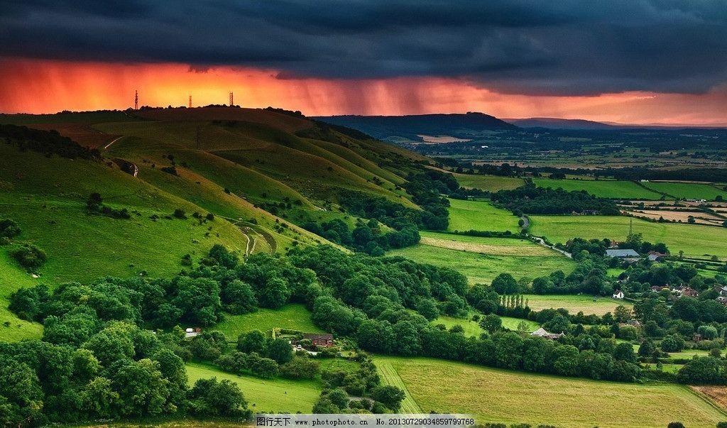 暴风雨来临 自然风景 风景壁纸 春天 暴雨 田园 乌云 春天自然风景