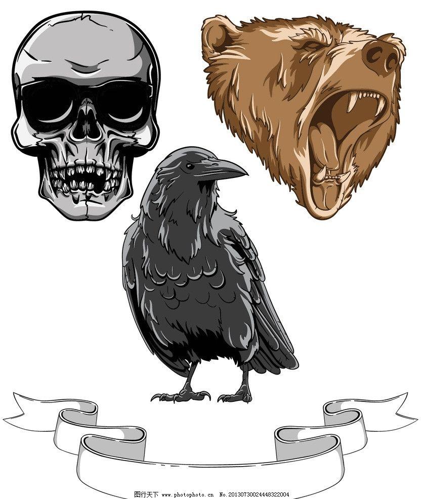动物头像 手绘 骷髅 老鹰 熊 凶恶 北极 秃鹫 卡通动物 野生动物 生物