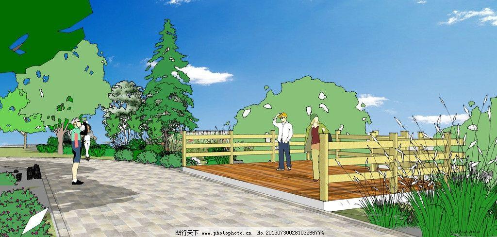 景观效果图 室外 模型 桥梁 人物 街道 树木