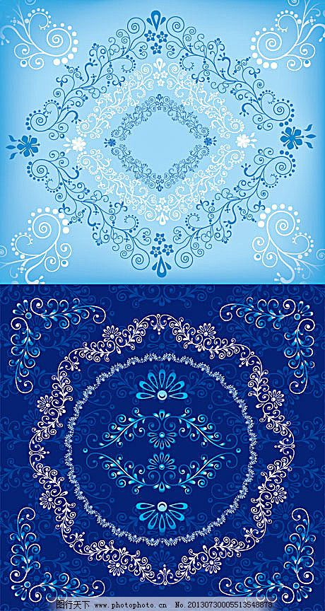 5款古典蓝色花纹装饰背景矢量素材
