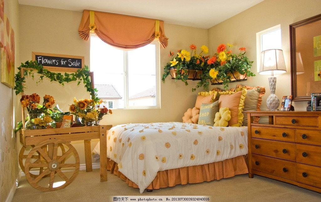 摄影图库 建筑园林 室内摄影  卧室 床 花草 鲜花 欧式 田园风 浪漫