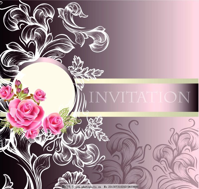 欧式花纹 欧式 古典 花纹 蝴蝶 玫瑰花 红玫瑰 豪华婚礼邀请卡 花边