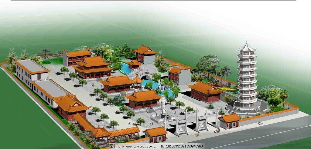 古建规划效果图 古建 规划 建筑群 鸟瞰 环境 3d作品 3d设计 设计 72