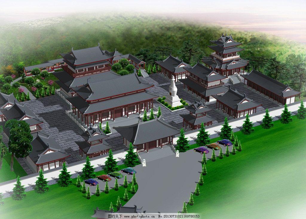 古建筑规划图 古建 规划 仿古 鸟瞰图 环境 建筑 绿化带 3d作品 3d