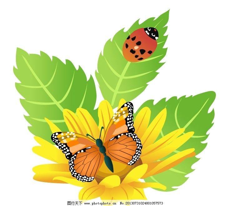 昆虫 植物 图标 蝴蝶 瓢虫 花 树叶 精致图标      生物世界 矢量 ai