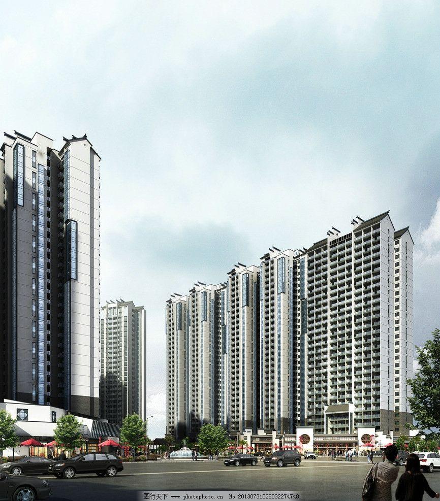 建筑效果图 楼盘 高端 中式 古典 徽派 高层 建筑 小区 住宅