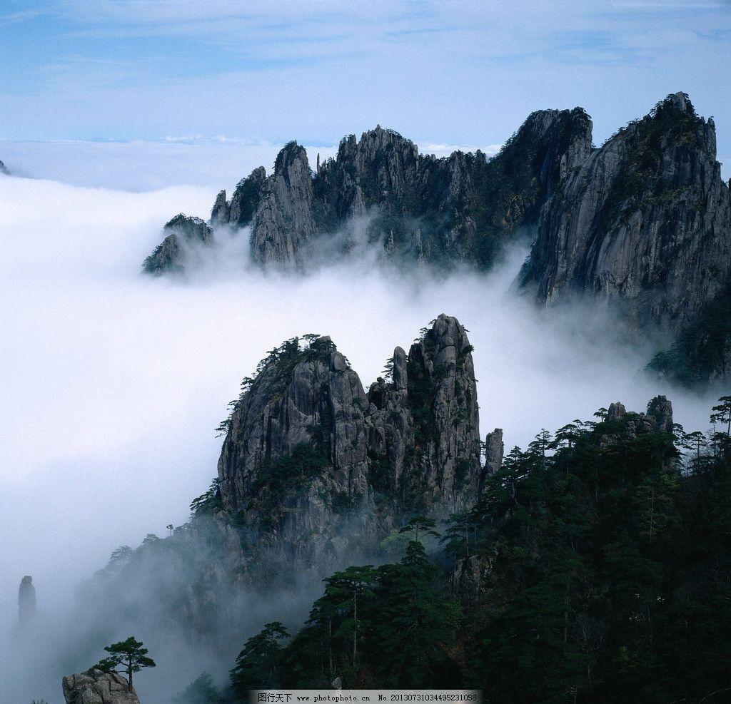 山雾 云雾 高山 群山 山峦 山峰 松树 树林 云海 雾海 黄山 山水风景