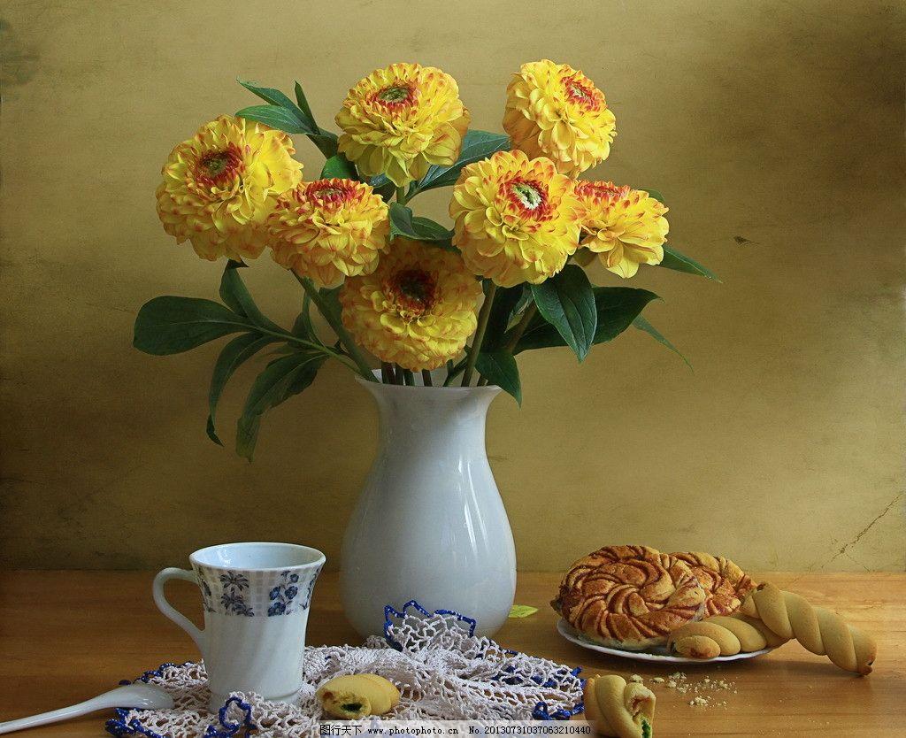 静物摄影 静物 摄影 俄罗斯 面包 鲜花 花瓶 茶杯 早茶 菊花 调羹