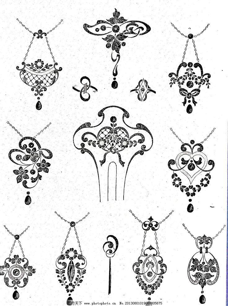 珠宝设计花纹 珠宝 艺术 设计 吊坠 线条 绘画书法 文化艺术 72dpi
